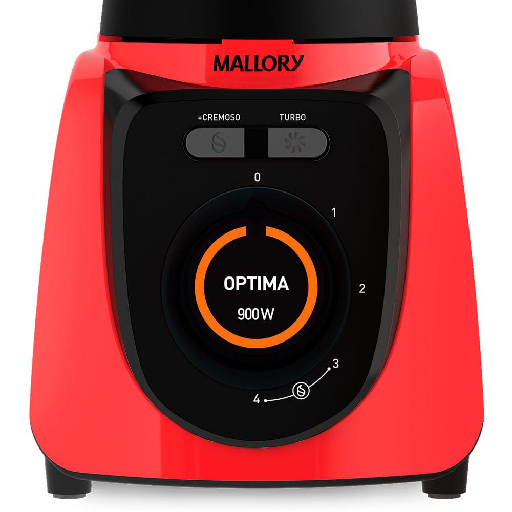 Liquidificador Mallory Optima Glass Vermelho 900w
