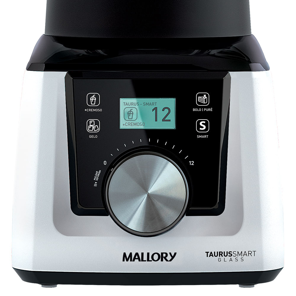 Liquidificador Mallory Taurus Smart Glass - Copo de Vidro- Branco e Preto 1300w